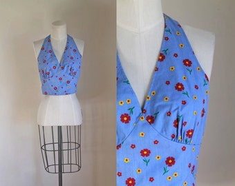 vintage 1970s halter top - SUNNY DAISIES chambray sun top / S