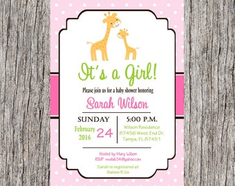 Giraffe Baby Shower Invitation, baby girl giraffe baby shower, giraffe, jungle, custom and printable