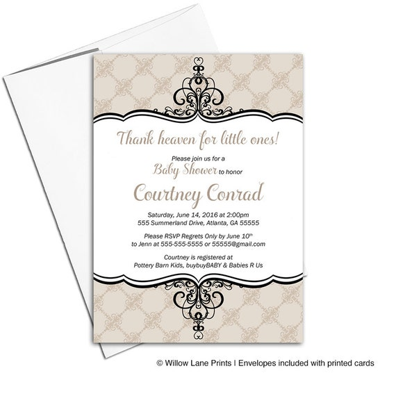 Neutral baby shower invitations   gender neutral shower ideas   taupe baby shower   printable or printed - WLP00751