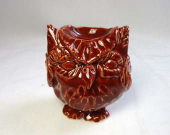 Owl Ring Holder - Teabag Rest - Fire Brick Red - Pottery Owls - Hand Built Pottery - Forest Animals - Pinch Pot Animal - Pottery Animal