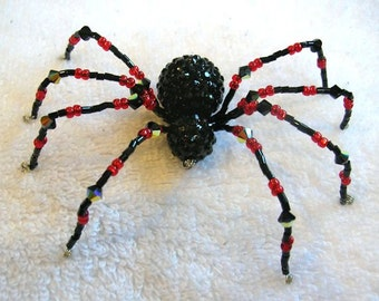 Beaded Spider Ornament in Black and Red - Halloween Decoration, Christmas Spider