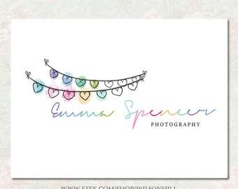 premade logo -  hearts logo  - photography logo -  Kids Logo  -   logo design - bespoke Logo - Party Logo - Events Logo - Colorful Logo