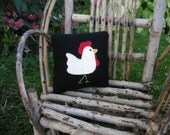 Rooster Ornie  Rooster Pin Keep Mini Wool Pillow with Rooster