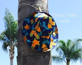 Fun in the Sun Hat Pineapple Print Wide-Brim Hat Summer Fashion Accessory  Freckles California