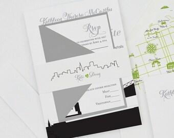 San Francisco Modern Wedding Invitation,SF Wedding Invitations,San Francisco Skyline Wedding Invites,Any City Skyline Wedding Invitations