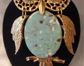 Give A Hoot - Vintage Gold Tone Owl Necklace with Speckled Blue Plastic Body & Eyes