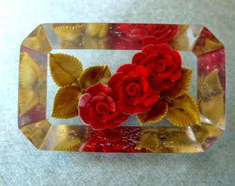 Vintage Reverse Under Carved Rose Lucite Pin Brooch 1940 Hand Painted Red Roses & Green Leaves Classic Beveled Edge