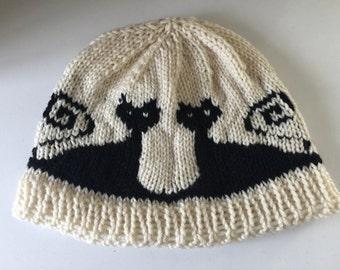Womens winter hat - cat design hat -  winter wool hat - winter beanie -  womans winter beanie -