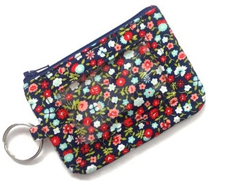 ID Wallet w/Keychain/Student ID Holder/Id Name Badge Holder/Keychain Coin Purse/Id Case/Card Case/Sm Wallet/Flowers Navy Red Blues Calico