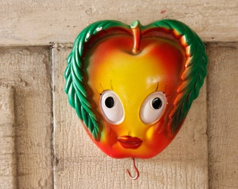 Antique Anthropomorphic Chalk Apple Fruit Plaque, Bright Colors, 1940's Kitchen Cheeky Apple, Wall Hanging Home Decor, Home & Living