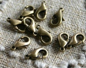 100pcs Clasp Lobster Claw 10x6mm Antiqued Gold Plated Aluminum