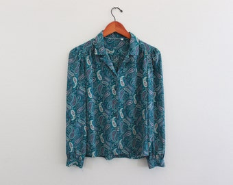 Vintage 70s Blue Paisley long sleeve Button down blouse