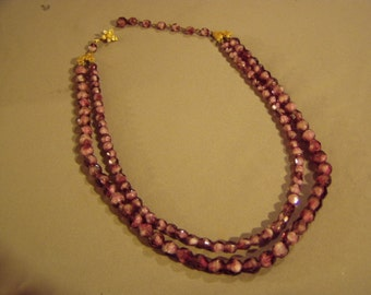 Vintage Unsigned Miriam Haskell 2 Strand Lavender Glass Bead Necklace 8349