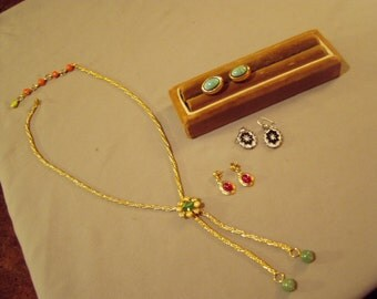 Vintage 1960s Glass Cabochon Lariat Style Necklace & 3 Pairs Glass Stone Earrings  8568