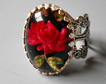 Vintage Rose Ring, Rose Ring, Red Rose Ring, Victorian Red Rose Ring