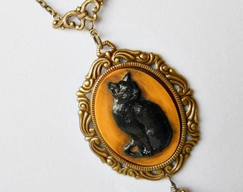 Black Cat Necklace, Halloween Necklace, Black Cat, Cat Pendant, Cat Necklace, Halloween Jewelry