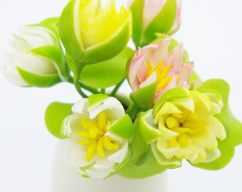 Miniature Polymer Clay Flowers Supplies Water Lily in colorful, 12 stems with leaves, assorted