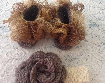 Gold ruffle booties and matching rose headband