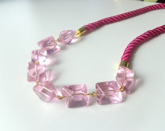 Pink crystals rope necklace