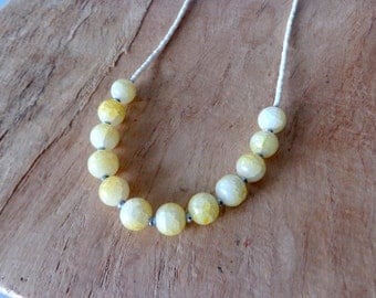 Yellow white Necklace colorful, dainty yellow Jade Gem Stones, seed bead necklace, rustic Bohemian style jewelry