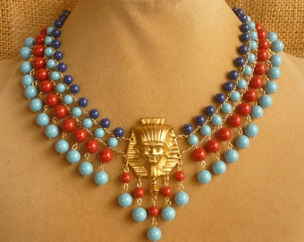 Egyptian Style Tutankhamen Choker in Red, Lapis Blue and Turquoise Swarovski Gemcolors