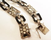 Art Deco Paste Bracelet... 935 Silver... Black Enamel... Spare Repair