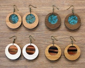 Wood & Copper Patina Earrings in Hardwood with Bronze Finish Hardware - Womens Modern Statement Jewelry