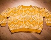 Bel Ami Sweater, Mustard Yellow Geometric Patterns, Baggy Kitsch Shirt, Vintage 80s