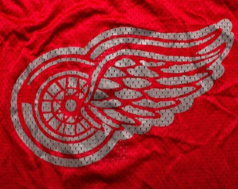 Detroit Red Wings #1 Jersey, XL, Athletic Sewing, Red Mesh, Vintage 80s