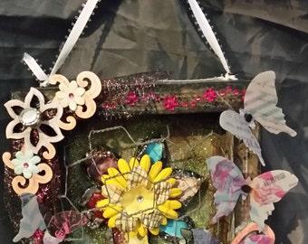 Butterfly Fields Handmade Mixed Media Frame