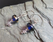 Lampwork and Sterling Silver Earrings - Silver, Gold and Cobalt Blue