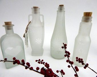 Set of 4 Apothecary Jars, Storage and Organization Recycled upcycled bottle glass