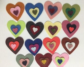 Wool Felt Valentine Hearts 45 total - Random Colors 3501