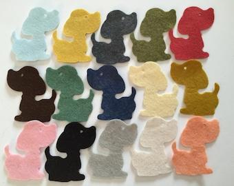 Wool Felt Dog Die Cuts 15 Count - Random Colored 3347
