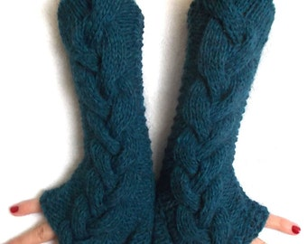 Handknitted chunky Fingerless Gloves Teal Blue Green Cabled  Arm Warmers with Alpaca Women Winter accessory