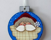 Santa Claus Christmas Ornament, Christmas Tree Ornament, Santa, Round Wood Ornament, Hand Painted, Hanging Ornament, Ornament Exchange Gift