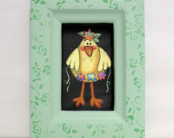 Spring Chick with Flower Garland, Framed in a Reclaimed Wood Frame, Hand or Tole Painted on Black Screen, Spring or Easter Decor, Chick
