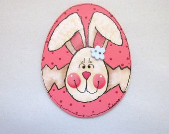 Spring Time Kitchen Magnet, Folk Art Bunny, Whimsical Bunny Hatching out of Colorful Egg,Tole or Hand Painted on Wood Shaped Egg,White Bunny