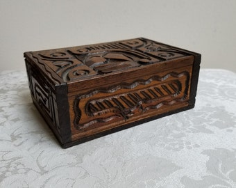 Vintage Carved Wood Box With Tribal Abstract Design, Bohemian Decorative Storage Box, Hippie Stash Box