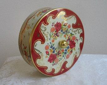 Vintage Tin by Daher Embossed Red Roses Gold Multi Color Flowers on Cream, Floral Bouquet Round Metal Box Container, England