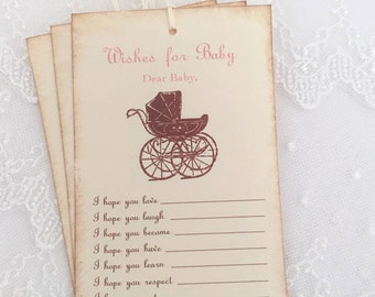 Girl Wishes for Baby Tags Wish Tree Tags Dear Baby Pink Carriage