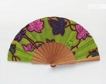 Spanish handmade folding fan with case - Boho Cottage Chic Hippie style accessory - hand fan eventail abanico faecher