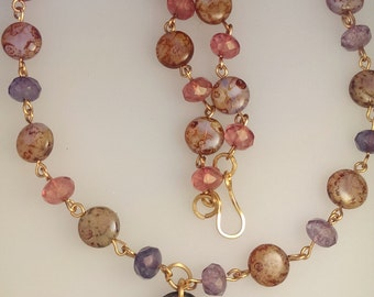 Enamel and Beaded Necklace: Autumn leaves