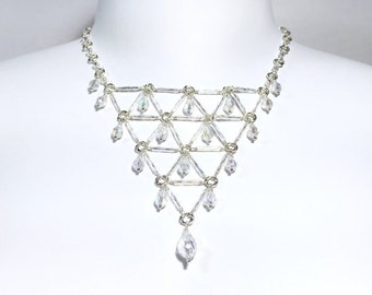 Bridal Crystal Bib Necklace in Sterling Siver and Clear AB Crystal Drops