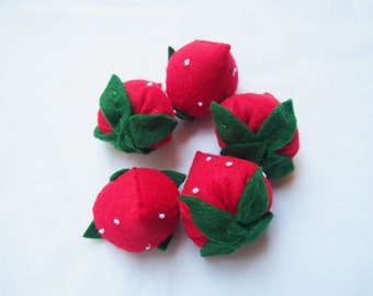 Felt Strawberry - Play Toy Food - Pretend play
