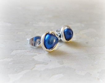 Royal Blue Posts, Freshwater Pearl Stud Earrings, Cobalt Post Earrings, Sterling Silver Posts, Wire Wrapped Studs, Blue Stud Earrings