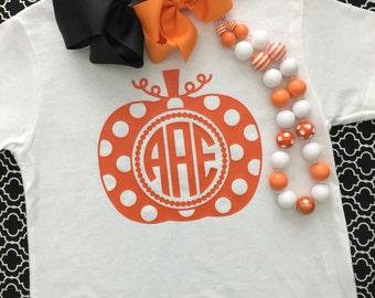 SALE Personalized monogram Pumpkin Toddler Kids t shirt polka dot circle orange halloween Fall Preppy