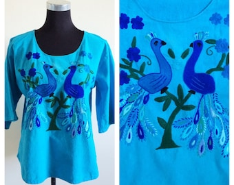 Vintage Oaxacan Blue Peacock Blouse- Top, M, Embroidered Boho Hippie Shirt, 60s Bell Sleeve 3/4