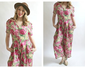 90s Floral Jumpsuit- M, April Cornell Trading, Romper, Onesie, Pink, Yellow Green Summer Grunge Burnout Hippie