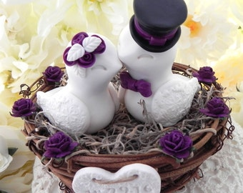 Rustic Love Bird Wedding Cake Topper -White, Black and Plum, Love Birds in Nest - Personalized Heart